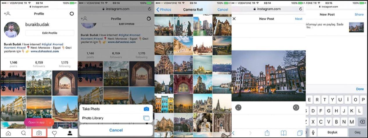 Instagram Programsız Fotoğraf Yükleme