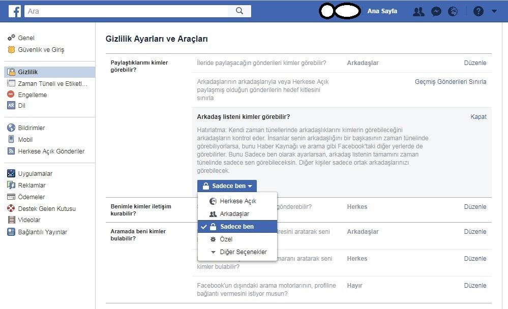 facebook arkadaslarini gizleme ayarlari nasil yapilir guncel