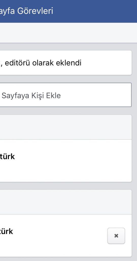 Facebook sayfa görevi çıkarma